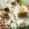 Reusable makeup remover pads in white - a photo of zero-waste, handmade cleaning wipes made out of organic cotton