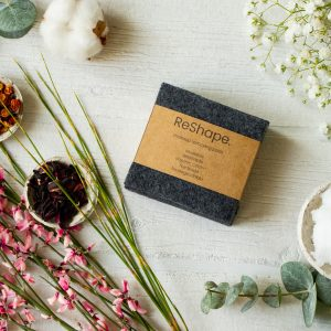 Reusable makeup remover pads in black - a photo of zero-waste, handmade cleaning wipes made out of organic cotton