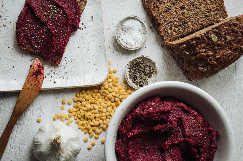 creamy beetroot spread, vegan recipes, on bread, tasty meal ideas, vegan bread