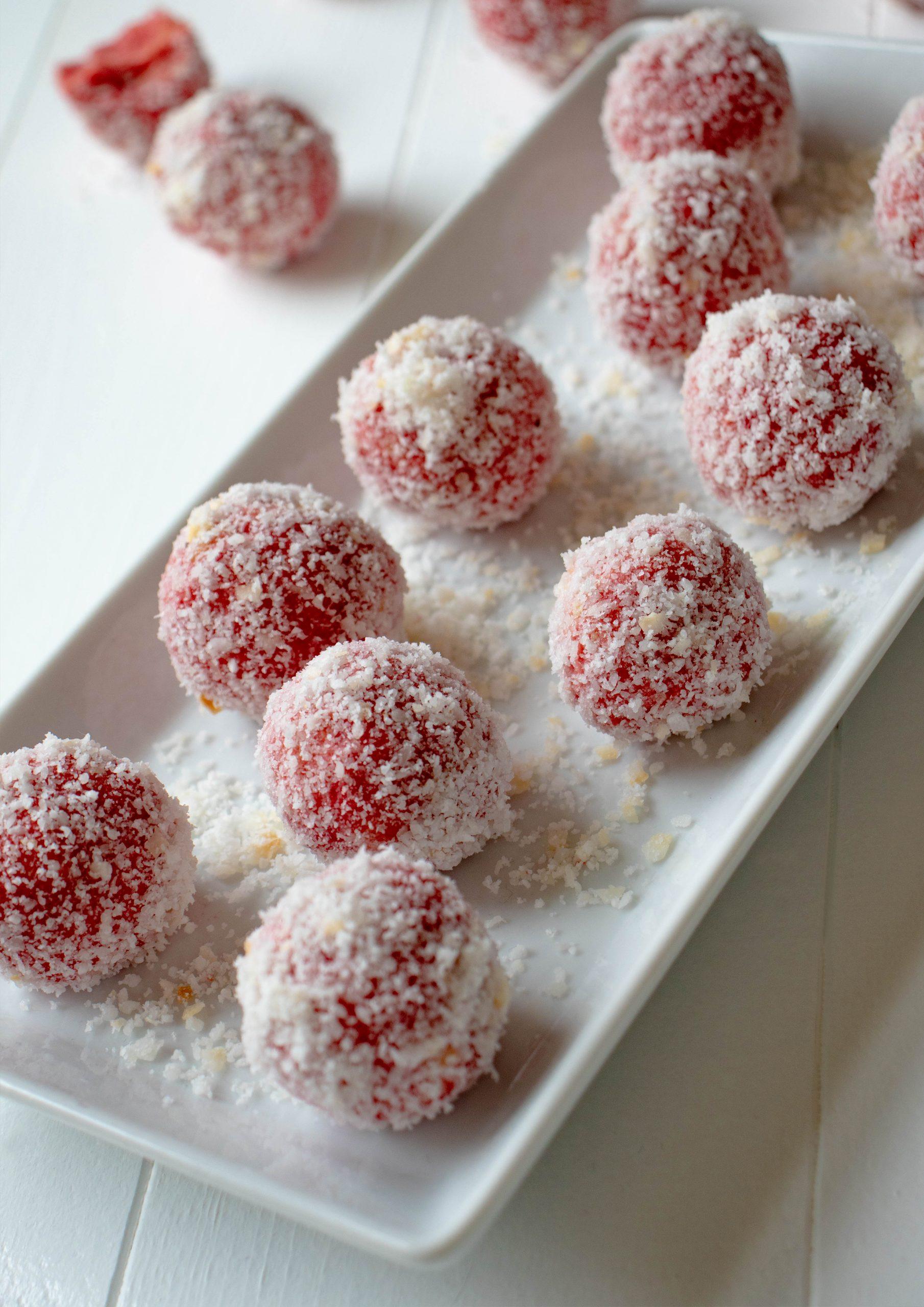 rose cookie dough balls, vegan recipe, vegan balls, vegan desserts, vegan