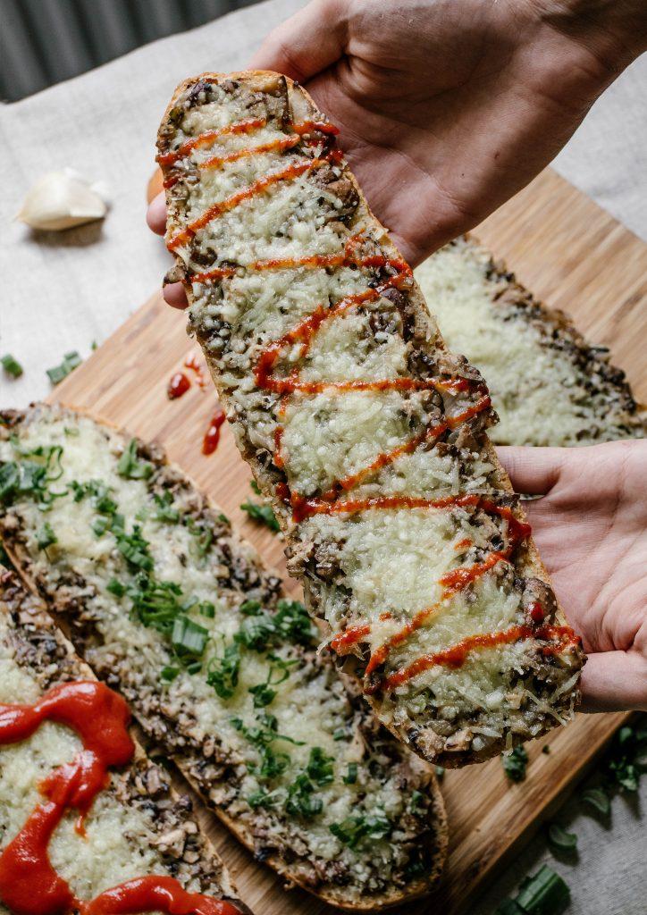 zapiekanka with mushrooms and vegan cheese, vegan recipes