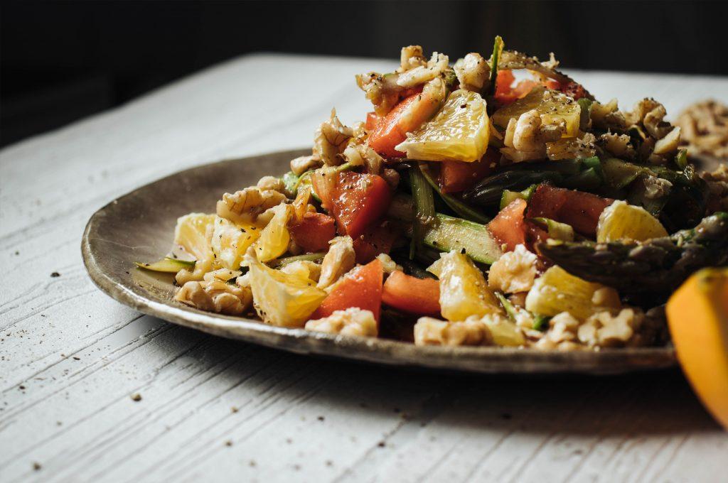 Green asparagus tagliatelle salad