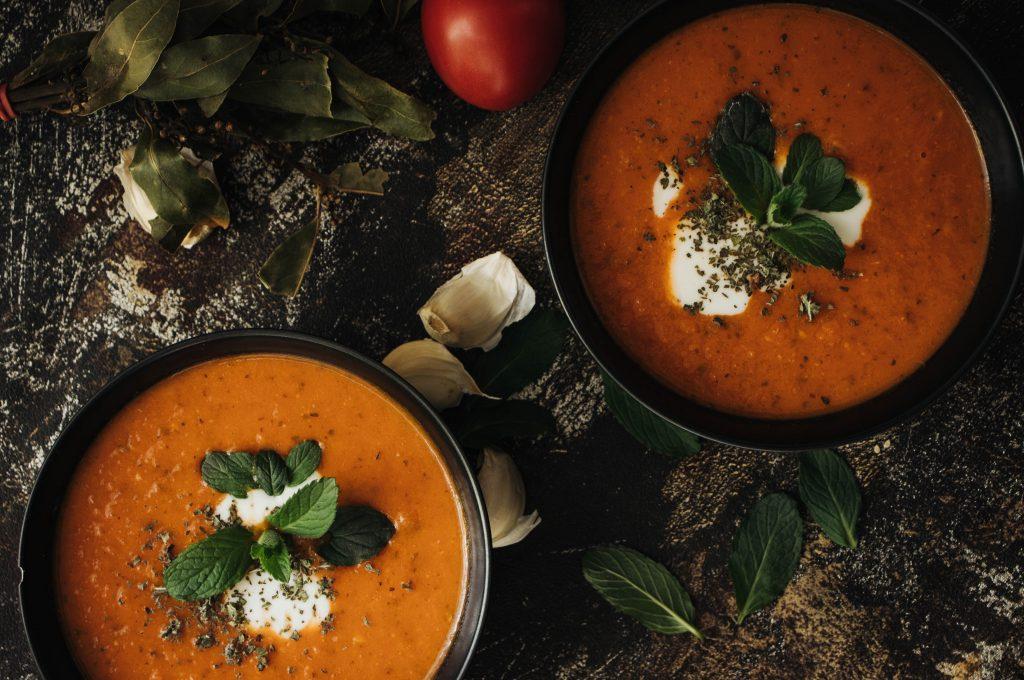 creamy tomato-mint soup, vegan recipe, recipe, soup recipes, soup for the soul