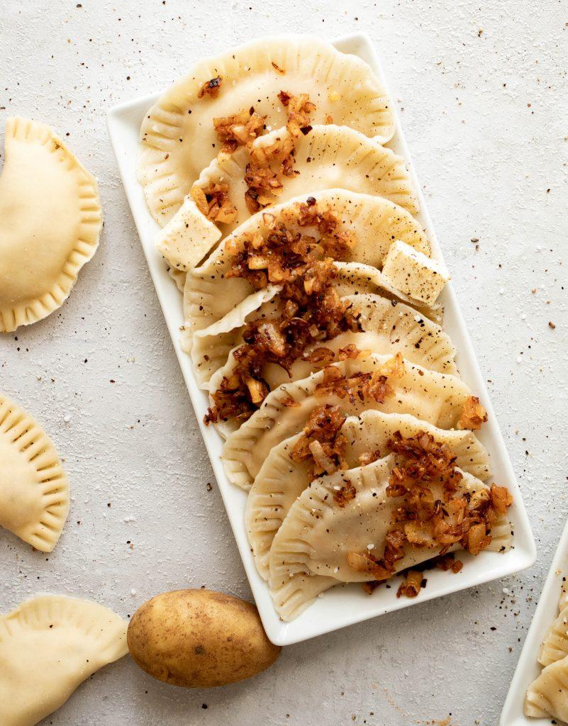 traditional pierogi ruskie - dumplings with potatoes and tofu