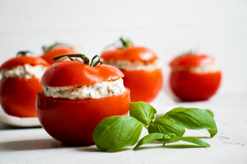 tomatoes stuffed with tofu cottage cheese
