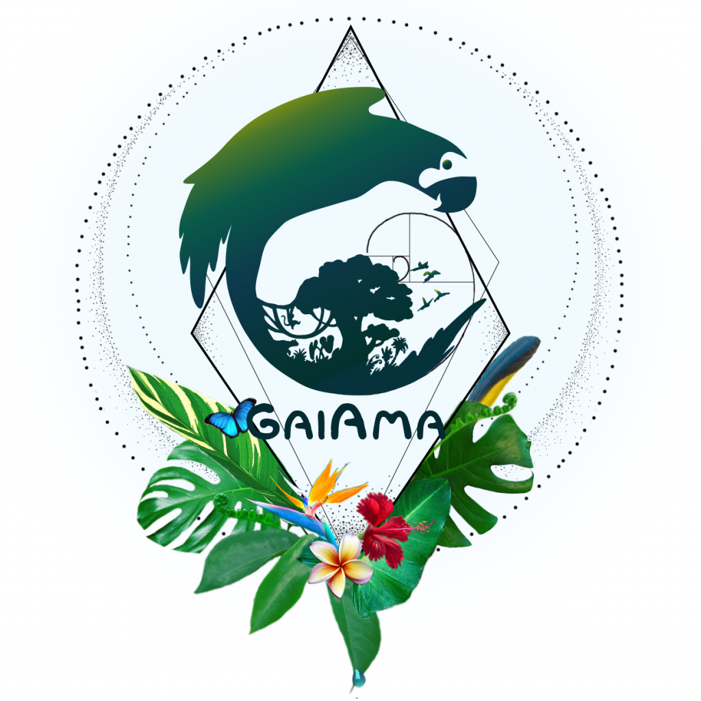 Logo of GaiAma organization that protects Rainforest