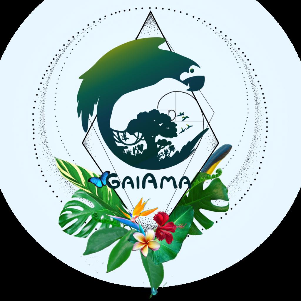 Logo of GaiAma organization that protects Rainforest