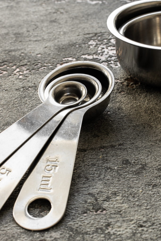 A photo of measuring spoons for the post about cooking measures.
